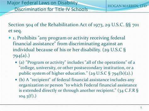 section 504 of the rehabilitation act of 1973 summary the americans with disabilities act section 504 of the