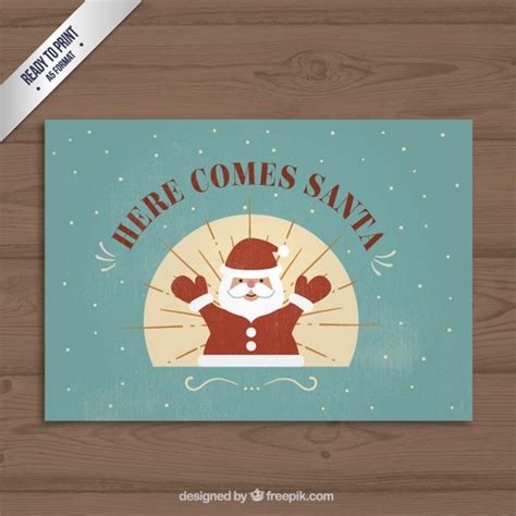 free christmas cards santa claus cards vintage santa claus christmas card vector free download