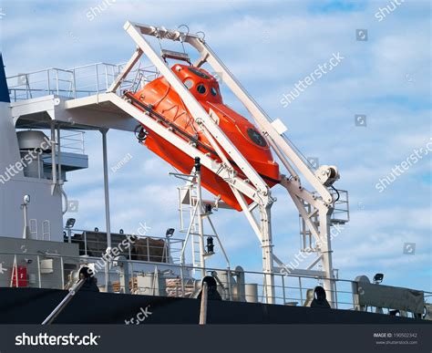 free fall boats orange freefall life boat emergency evacuation stock photo
