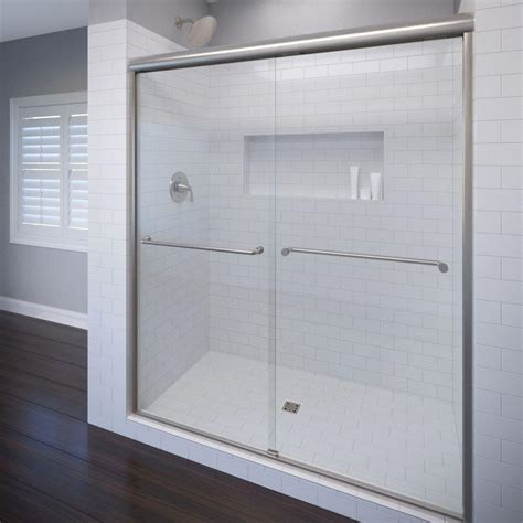 Semi Frameless Sliding Shower Doors Basco Celesta 48 In X 71 1 4 In Semi Frameless Sliding Shower Door In Brushed Nickel With