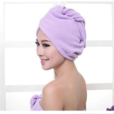Hair Dryer Or Towel new microfiber bath towel hair hat cap drying bath warm tool ebay