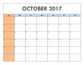 Calendar October 2017 Template October 2017 Calendar Printable Template