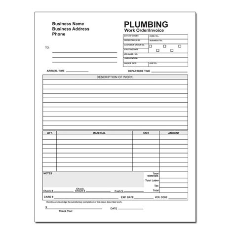 plumbing invoice template plumbing service invoices hardhost info