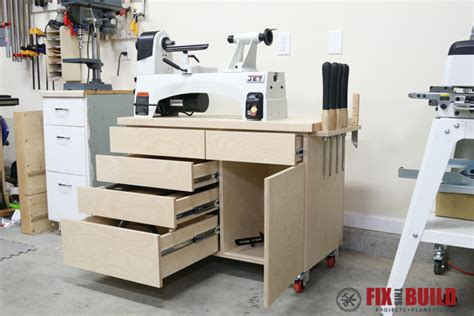 wood lathe bench plans wood lathe stand with storage fixthisbuildthat