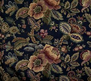 vintage floral tapestry fabric home dec upholstery woven black