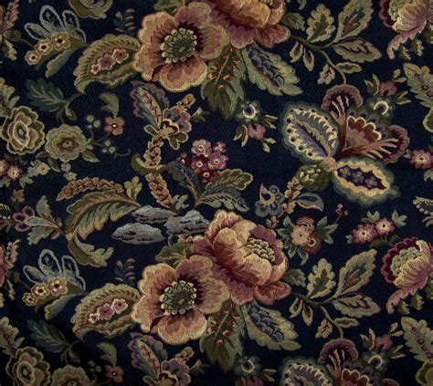 Tapestry Fabric Vintage Floral Tapestry Fabric Home Dec Upholstery Woven Black