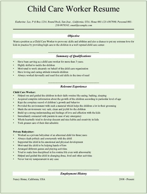 Childcare Resume Exles by Sle Child Care Worker Resumes For Microsoft Word Doc
