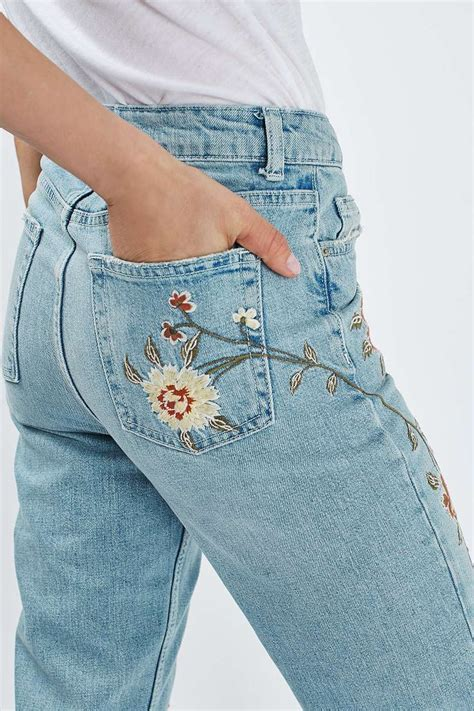patterned jeans trend moto floral embroidered mom jeans topshop floral and