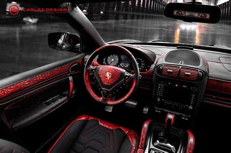porsche red interior porsche cayenne goes reptilian with red crocodile leather