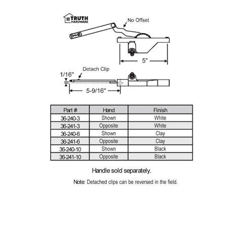 color chart truth hardware products biltbest window parts truth hardware rear mount casement operators 36 240 3