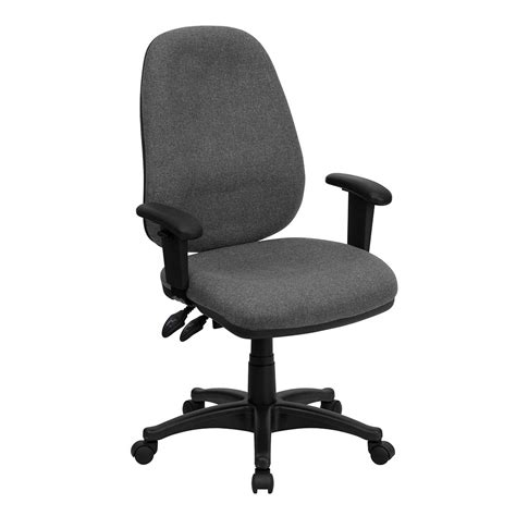 Office Chairs High Seat Height High Back Gray Fabric Executive Ergonomic Swivel Office