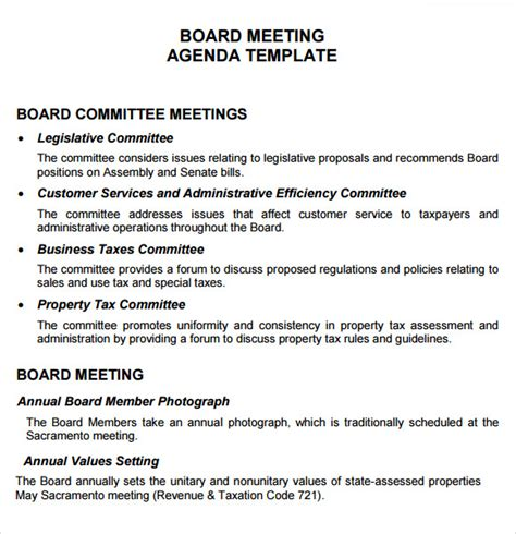 board meeting templates board meeting agenda 11 free sles exles format