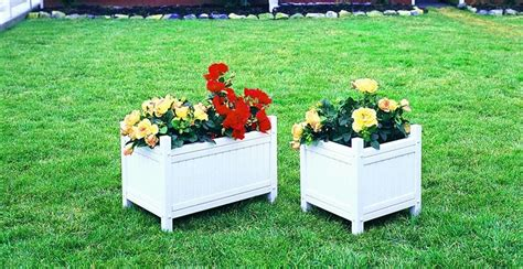 White Outdoor Planters Amish Vinyl White Outdoor Planter