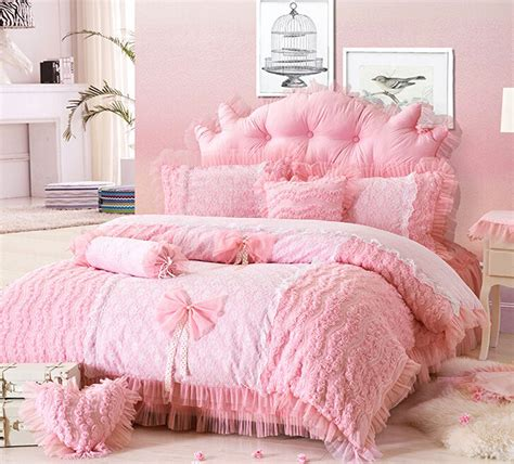 Princess Bed Cover Set Single Pink Lace Princess Style Duvet Cover Bedding Set Bedroom New Ebay
