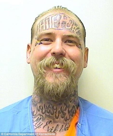 white power tattoo inmate with white power on his forehead sentenced