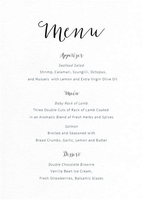 menu templates for weddings wedding menus independent designs printed by paperlust