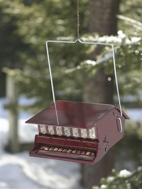 squirrel proof bird feeder red powder coated steel