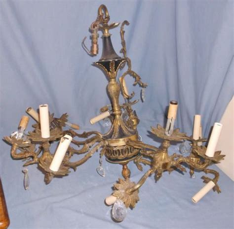 Chandelier Electrical Parts Vintage Big Brass Electric Chandelier L Ceiling Fixture Parts Repair Prisms Lighting