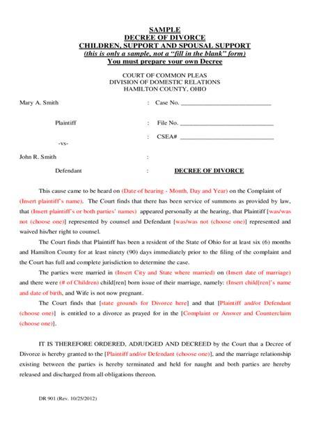 divorce decree template sle decree of divorce ohio free