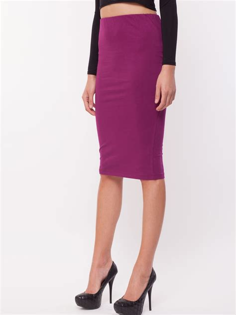 buy koovs jersey pencil skirt for s magenta