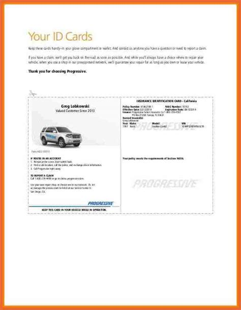 Car Card Template by Progressive Insurance Card
