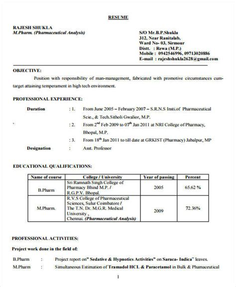 pharmacy resume format pdf 40 fresher resume exles