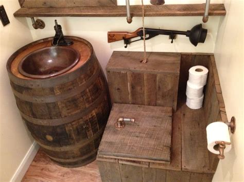 Barrel sink rustic toilet for the home pinterest