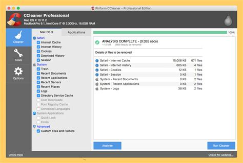 ccleaner geeks 3 freeware to free up macos ssd disk space of unwanted files
