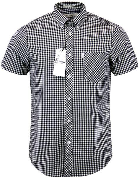 Ben Shirt ben sherman mens retro mod sleeve gingham shirt in black