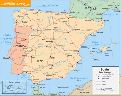 printable road map of portugal 5 best images of printable map of spain spain map