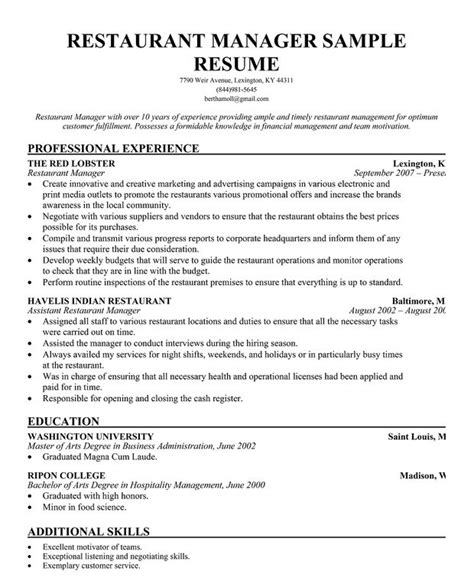 restaurant manager resume skills resumess franklinfire co