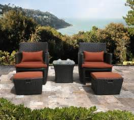Outdoor Patio Chairs With Ottomans Outdoor Wicker Patio 5pc Balencia Bistro Set Chairs Ottomans Furniture Ebay