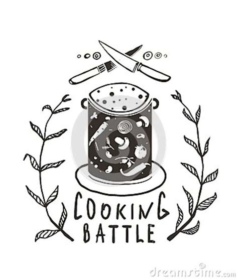 siege cook cooking battle sign and label monochrome design stock