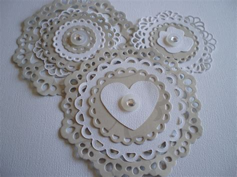 handmade scrapbooking embellishments silver and white