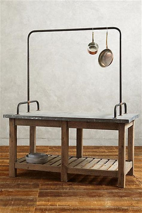 kitchen island with pot rack zinc topped kitchen island i anthropologie