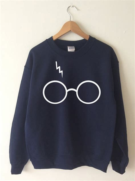 Harry Potter Sweater Black harry potter sweatshirt lightning glasses sweater crew neck