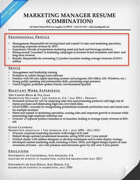Resume Profile Writing Tips Resume Profile Exles Writing Guide Resume Companion