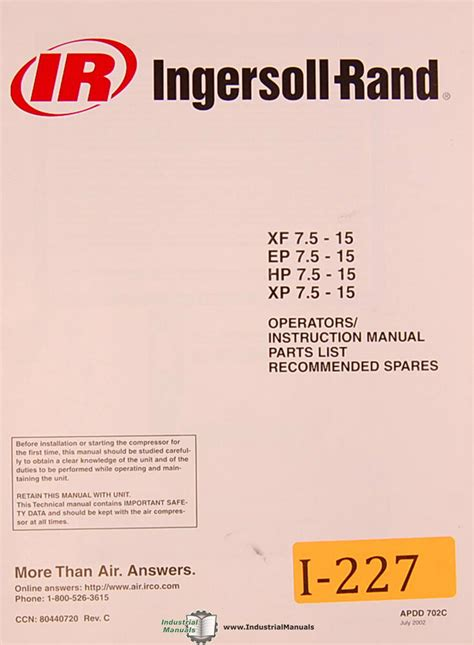 ingersoll rand xf   ep hp xp air compressor operations  parts manual ebay