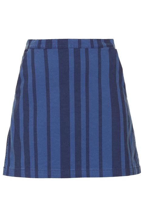 topshop moto stripe denim skirt in blue lyst