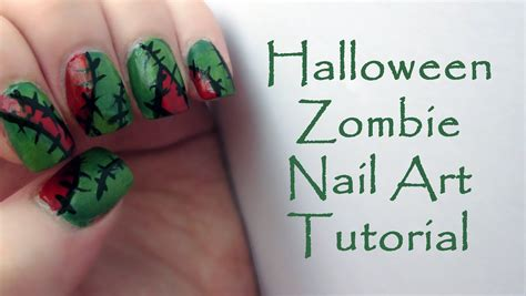 zombie nails tutorial zombie halloween nail art tutorial easy halloween nails