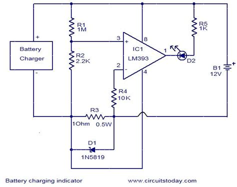 led battery voltage indicator circuit battery charging indicator circuit electronic circuits and diagrams electronic projects and design