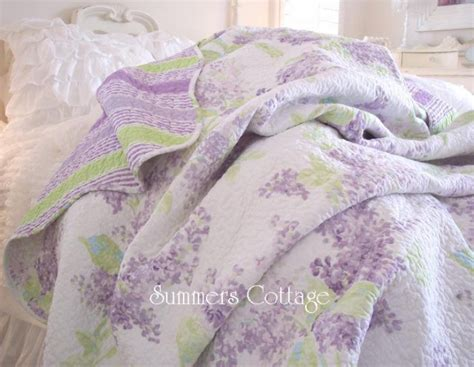 shabby cottage chic lavender lilac aqua blue king quilt