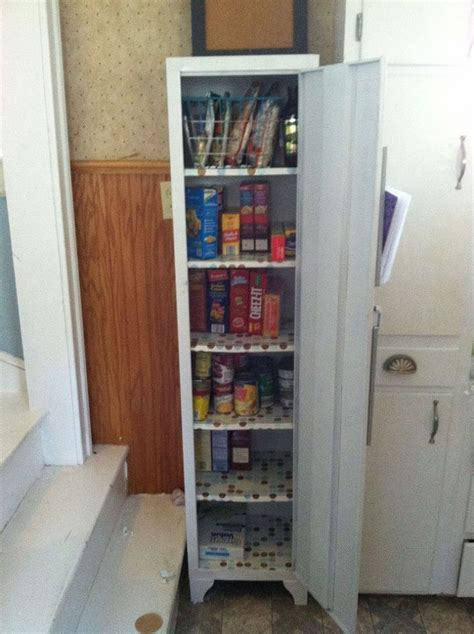metal cabinet turned into pantry