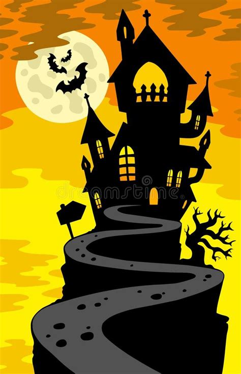 haunted house silhouette  hill stock vector