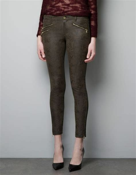 zara snake print trousers in zara snake print trousers in khaki lyst