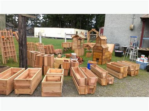 yard sale saturday selling new cedar planters arbors