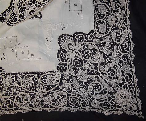 hand embroidered irish linen lace banquet tablecloth