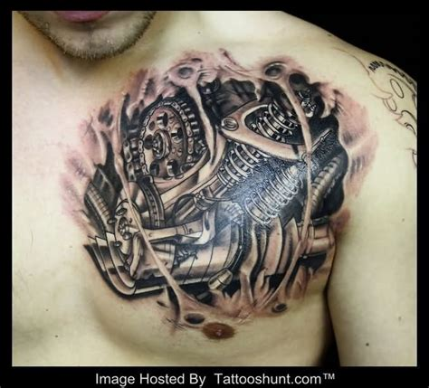 3d chest tattoo cool 3d biomechanical on chest tattooshunt