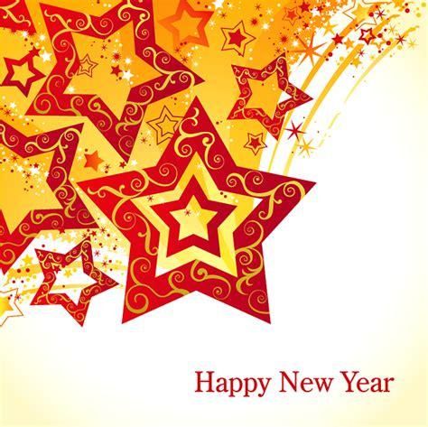new year vector design 闪光五角星新年贺卡背景矢量素材 矢量背景 懒人图库
