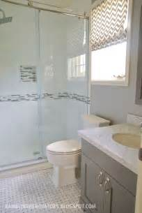 white and gray bathrooms boys bathroom basketweave subway tile grey white shaker vanity chevron blind my